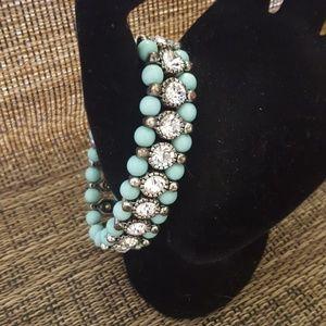 Jewelry - Turquoise and Rhinestone Bead Bracelet